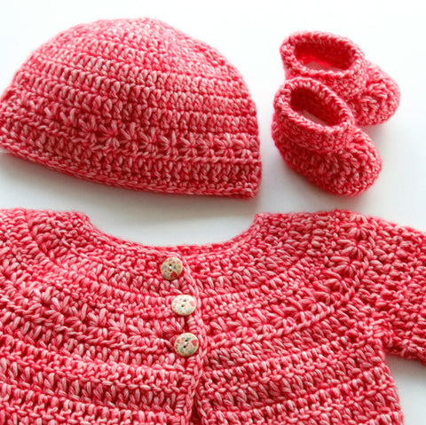 2df12a267 Size 00 Hand Crocheted Baby Cardigan, Beanie and Booties - Coral Pink