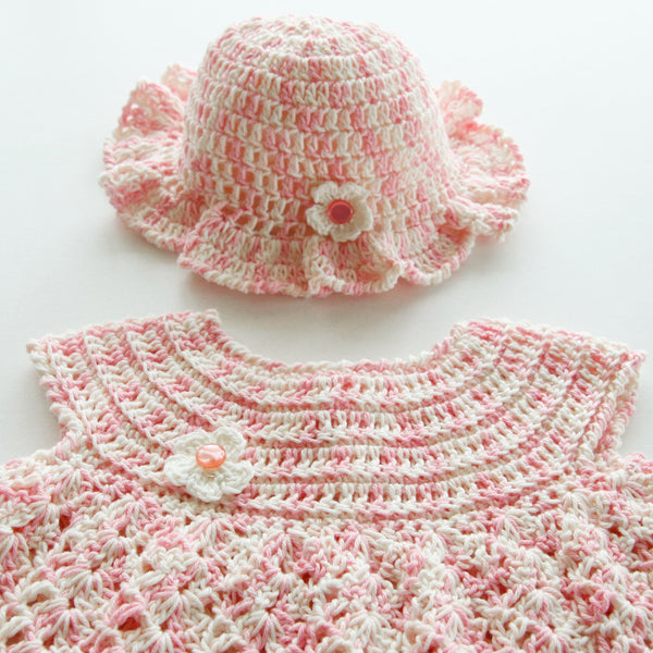 fb920f9c6a74e Size 000 Baby Girls Crocheted Layette Dress and Sun Hat - Fairy Floss –  Annie Bella s Gifts