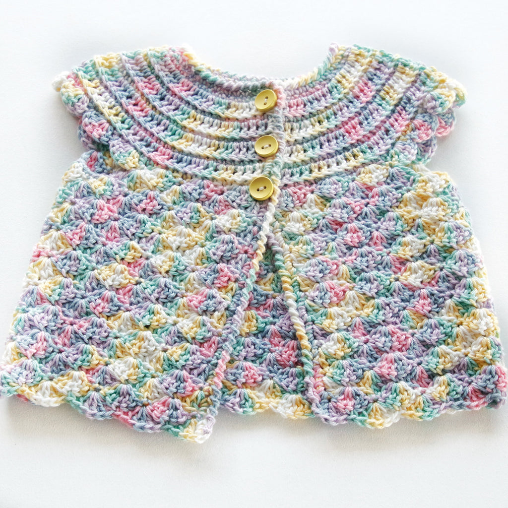 Size 000 Baby Girls Crocheted Cap Sleeve Cardigan Candy Annie