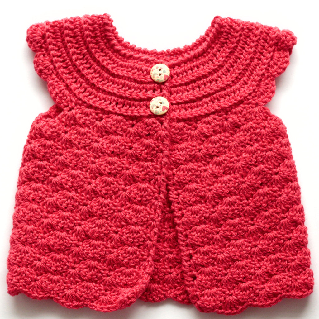 143bd2dc1 Size 0000 Baby Girls Crocheted Cap Sleeve Cardigan - Candy Apple