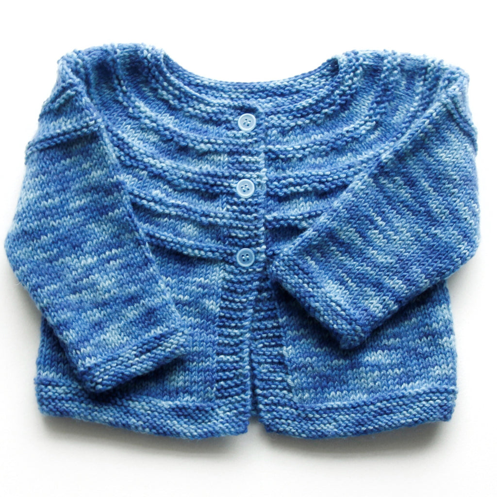 06ad466f3 Size 00 Baby Boys Hand Knitted Baby Cardigan - Ombre Blue – Annie ...
