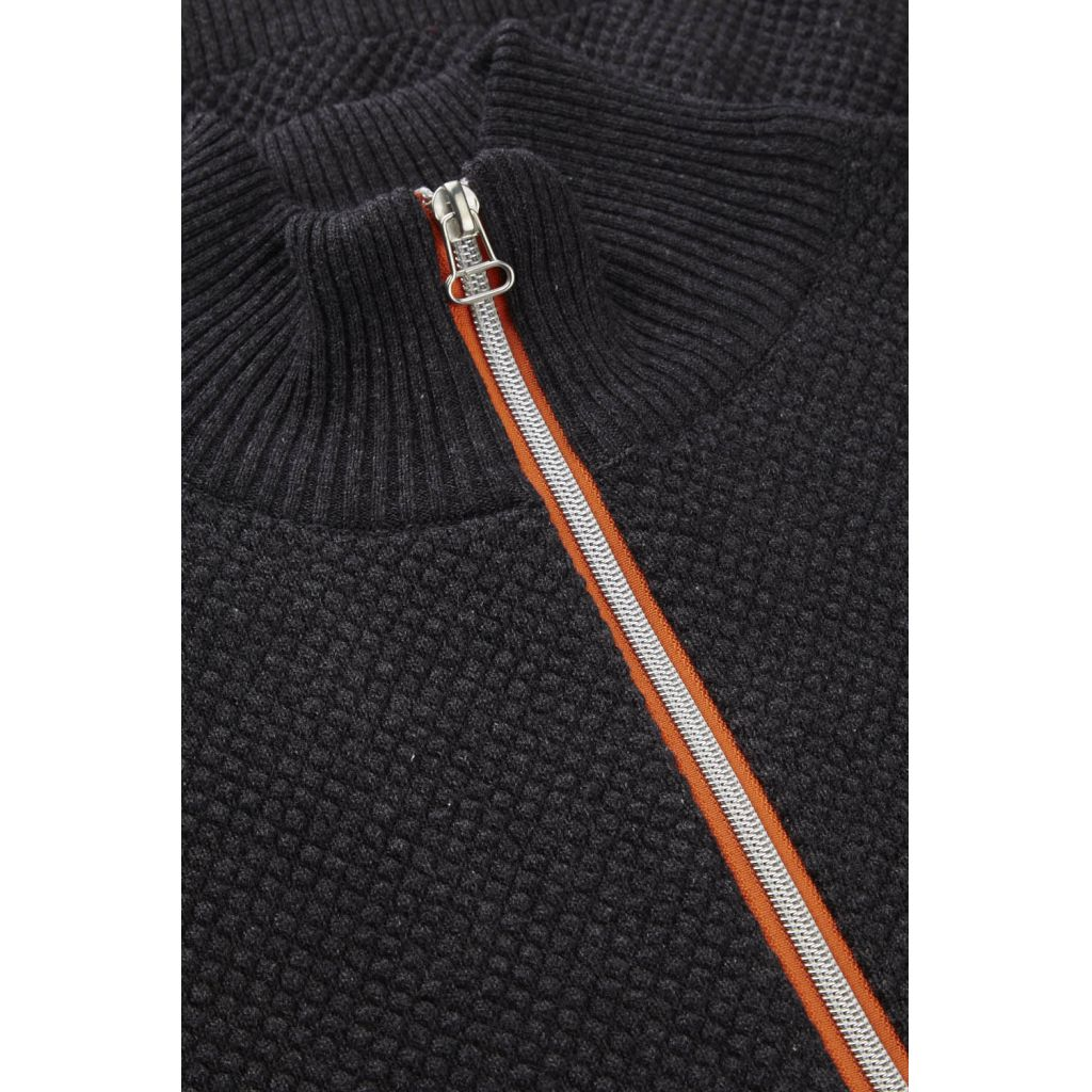 Kronstadt Erik Zip Knits Charcoal mel / Orange