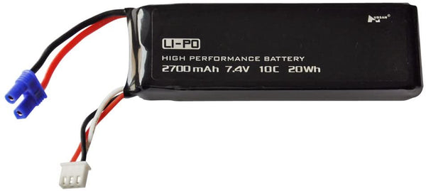 Hubsan H501S-14 - 2S, 7.4V, 2700mAh, 10C Lithium Polymer Rechargeable Battery