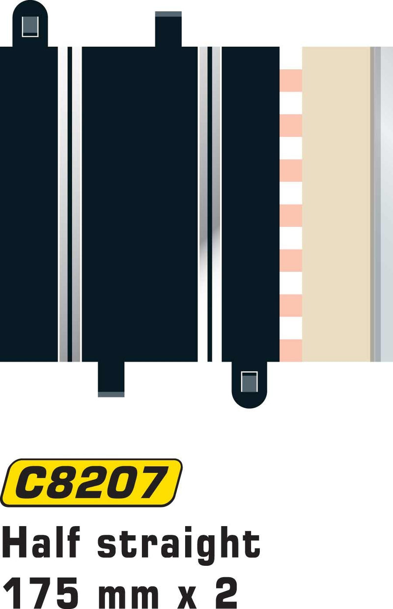 Scalextric C8207 - Half Straight, 175mm (2x)