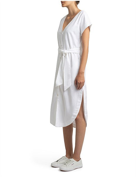 Marley Linen Midi Shirt Dress / White
