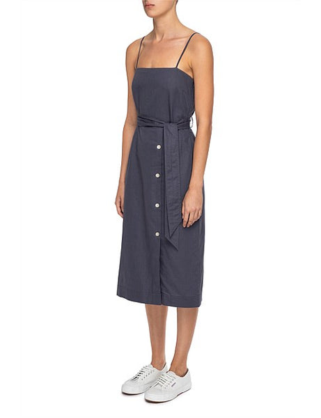 Neve Linen Midi Dress / Washed Navy