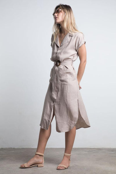 Cadiz Linen Dress / Black