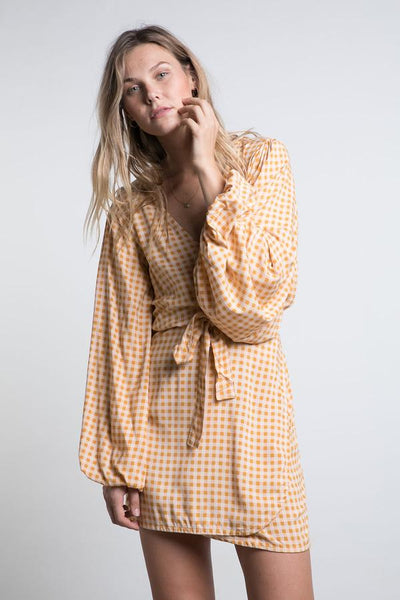 Cedar Wrap Dress / Tumeric Check
