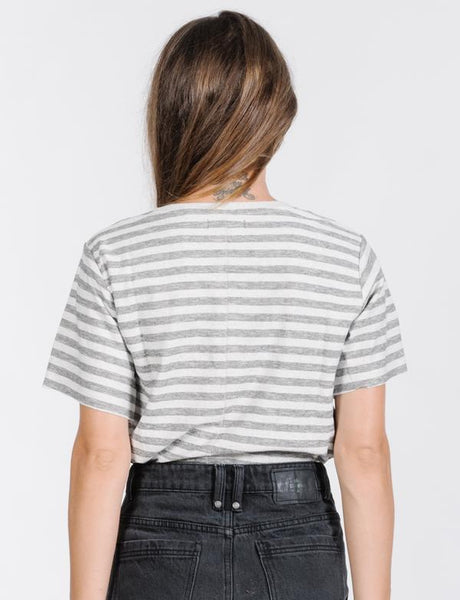 Cauzed Stripe Tee / Grey Linen