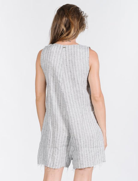 Cauzed Stripe Playsuit / Grey Linen