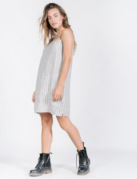 Cauzed Stripe Dress / Grey Linen