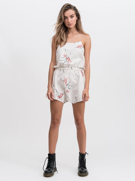 Club Linen Playsuit / Dirty White