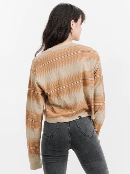 Disorder Stripe Relaxed LS Crop Tee - Tan Fade Stripe
