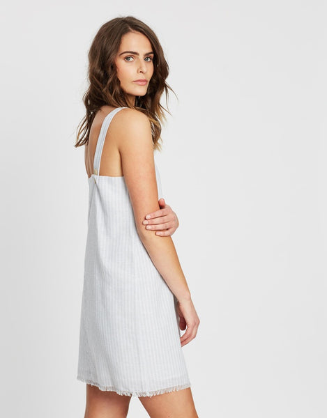Blake Linen Dress / Sky Stripe
