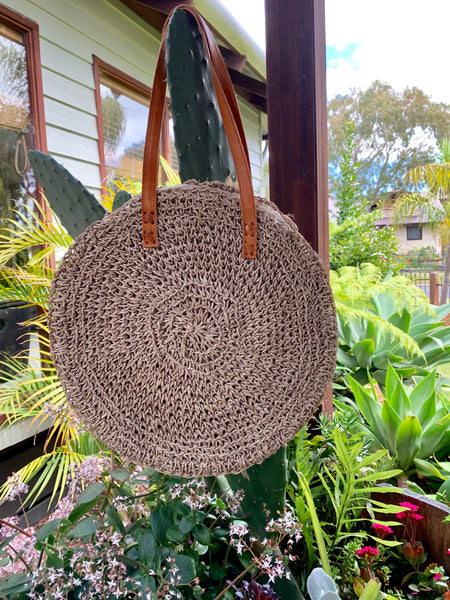 Nusa Round Beach Bag / Natural