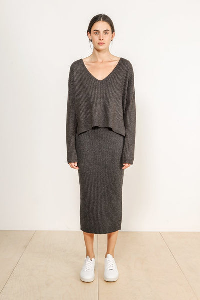Dylan Knit Skirt / Charcoal