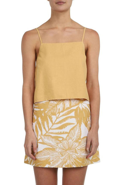 Marley Linen Cami / Washed Mustard