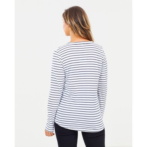 Ava Long Sleeve Tee / Navy Stripe