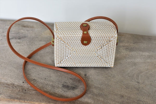 Tanah Rattan Rectangle Bag / White