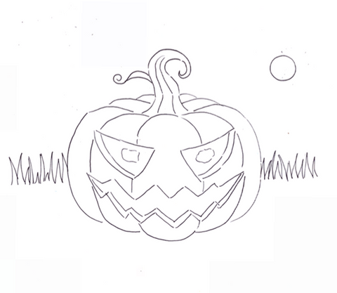 Download jacko lantern sketch for halloween free