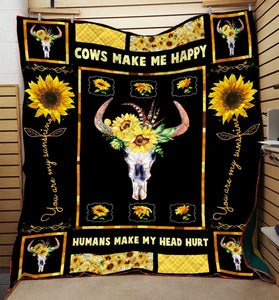 Cows Make Me Happy Sunflowers Blanket HQD-QHG00051