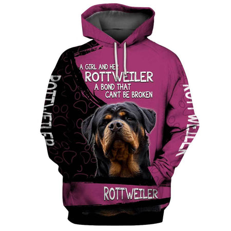 A girl and her ROTTWEILER Dog 3D Hoodie Full Printing