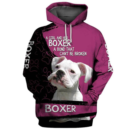 A girl and her WHITE BOXER Dog 3D Hoodie Full Printing