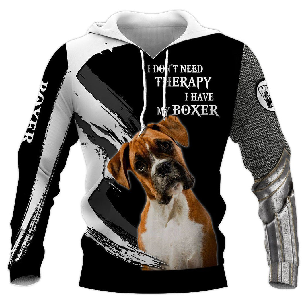 BOXER Dog Therapy 3D Hoodie Full Printing