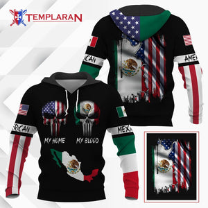 American my home mexico my blood hoodie 3D Full Printing
