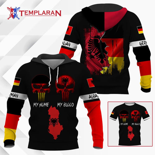 German my home albanian my blood hoodie 3D Full Printing