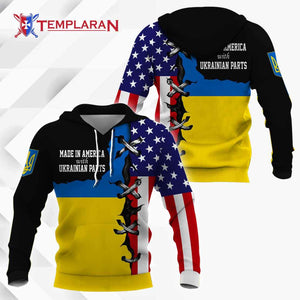 Made in America with Ukrainians Part Hoodie 3D Full Printing