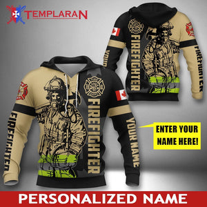 Personalized Name Canadian Firefighter 3D Full Printing