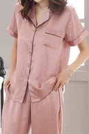 Anya Satin Short Sleeve Pajamas Lounge Set