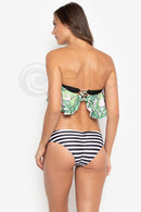 EL095 Melissa | Tropical Stripe Off Shoulder Bandeau Swimsuit Set