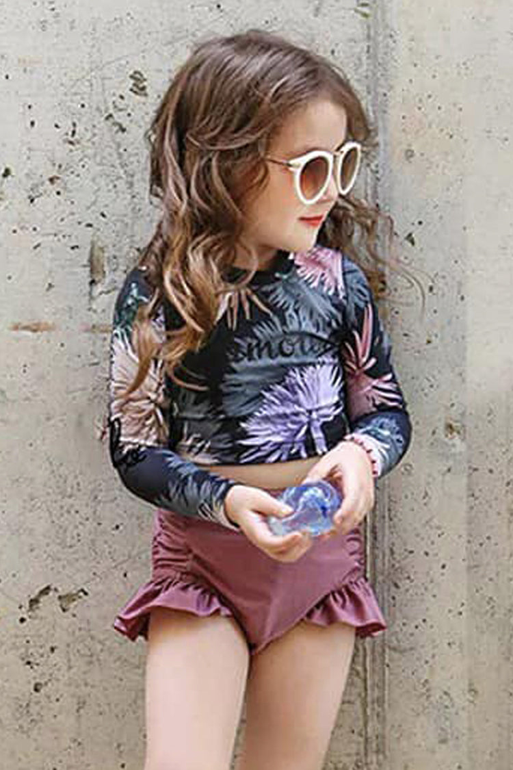 K106 Purple Floral Glam Kids Rashguard Set