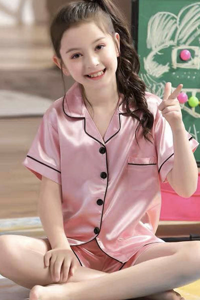 Kara Kids Satin Short Sleeve Shorts Lounge Set