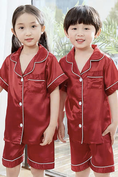 Kara Kids Satin Short Sleeve Top and Shorts Lounge Set