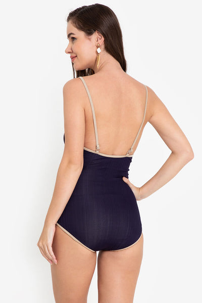 LUX015 Meredith | V-Neck One Piece Swimsuit