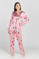 Myra Satin Long Sleeve Pajama Lounge Set
