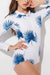 [Imported] P110 White Blue Palm Rashguard Suit