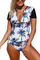 P116 Leila | Sunset Beach Zip Short Sleeve Rashguard Suit
