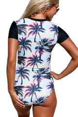 [Imported Pre-Order] P116 Sunset Beach Zip Short Sleeve Rashguard Suit