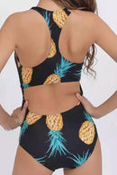 P129 Angela | Pineapple Zip Cutout One Piece