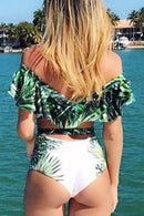 P132 Vivian | Green Palms Underwired Push-Up Cutout One Piece