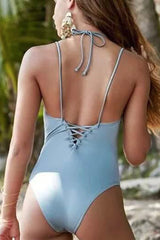 [Imported Pre-Order] P142 Gray Plunge One Piece