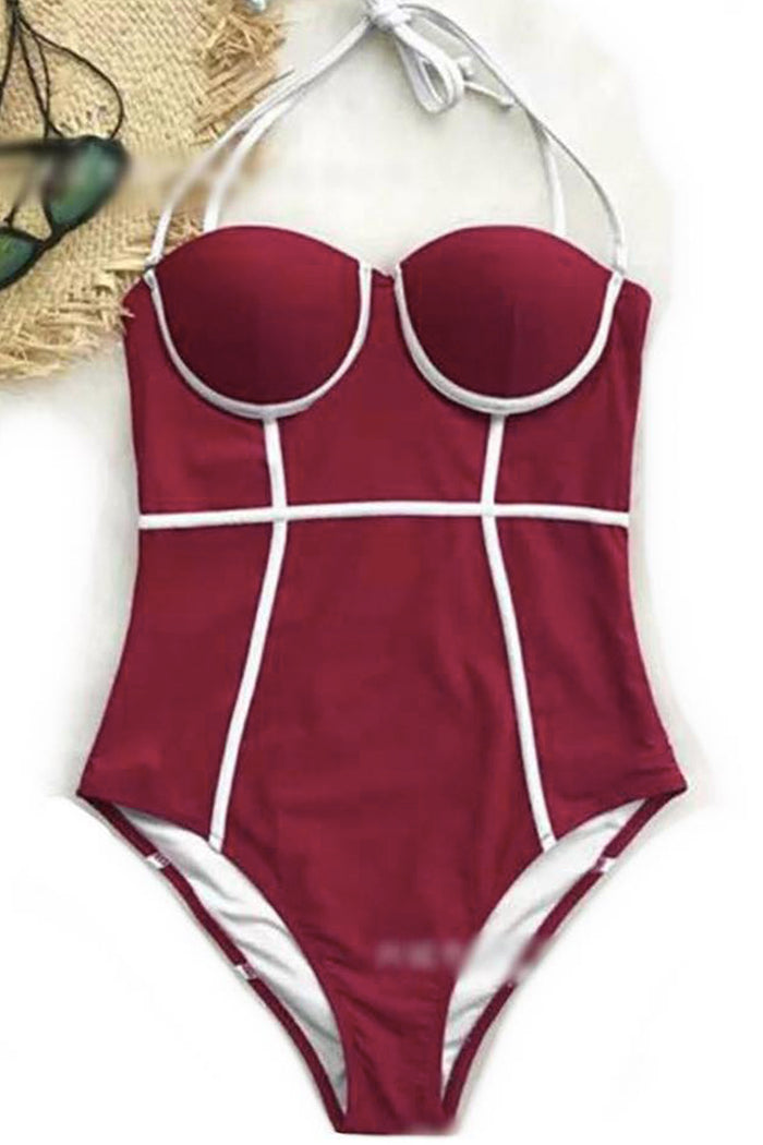[Imported Pre-Order] P154 Underwired One Piece in Maroon