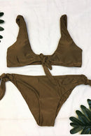 [Imported] P164 Plain Tie-Front Bikini Set (4 Colors)
