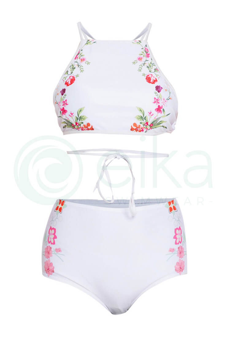 P173 Amina | Floral Midrib Halter High Waist Two Piece Swimsuit (1082481672228)