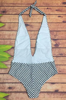 P186 Journey | Stripe Plunge Halter One Piece