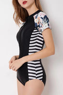 [Imported] P192 Floral Stripe Short Sleeve Rashguard Suit